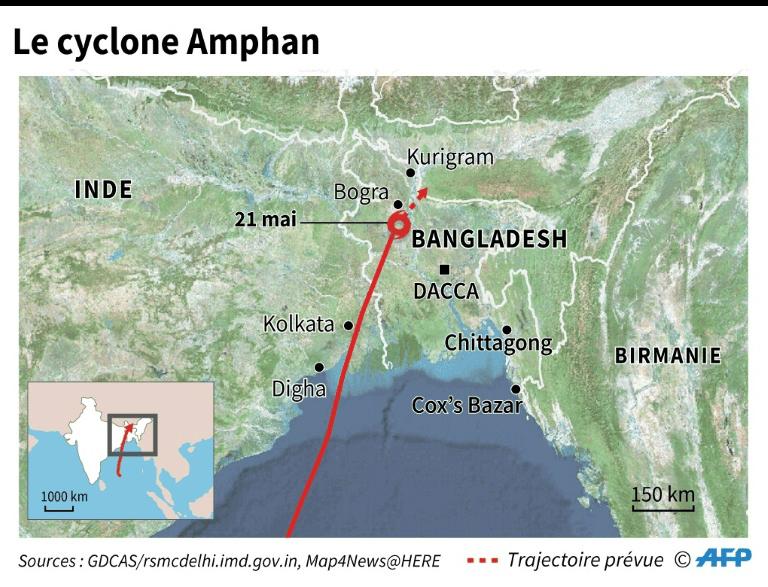 Carte cyclone amphan Bangladesh